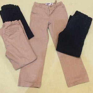 Old Navy khaki (2) and navy (2) dress pants.